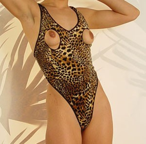 Leopard open cup crotchless body suit