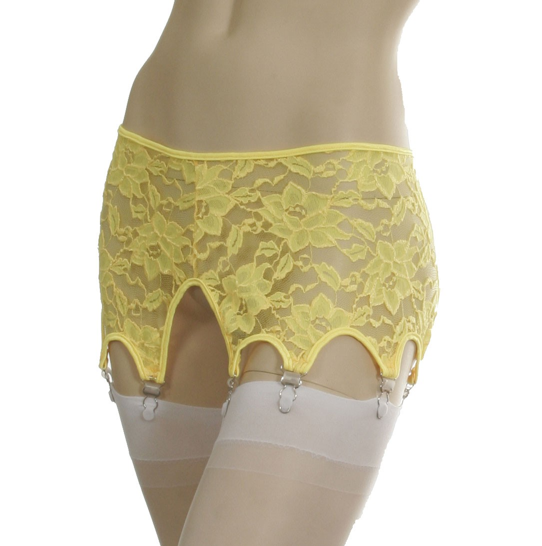 Stretch lace pull on garter belt with 8 garters GB5L