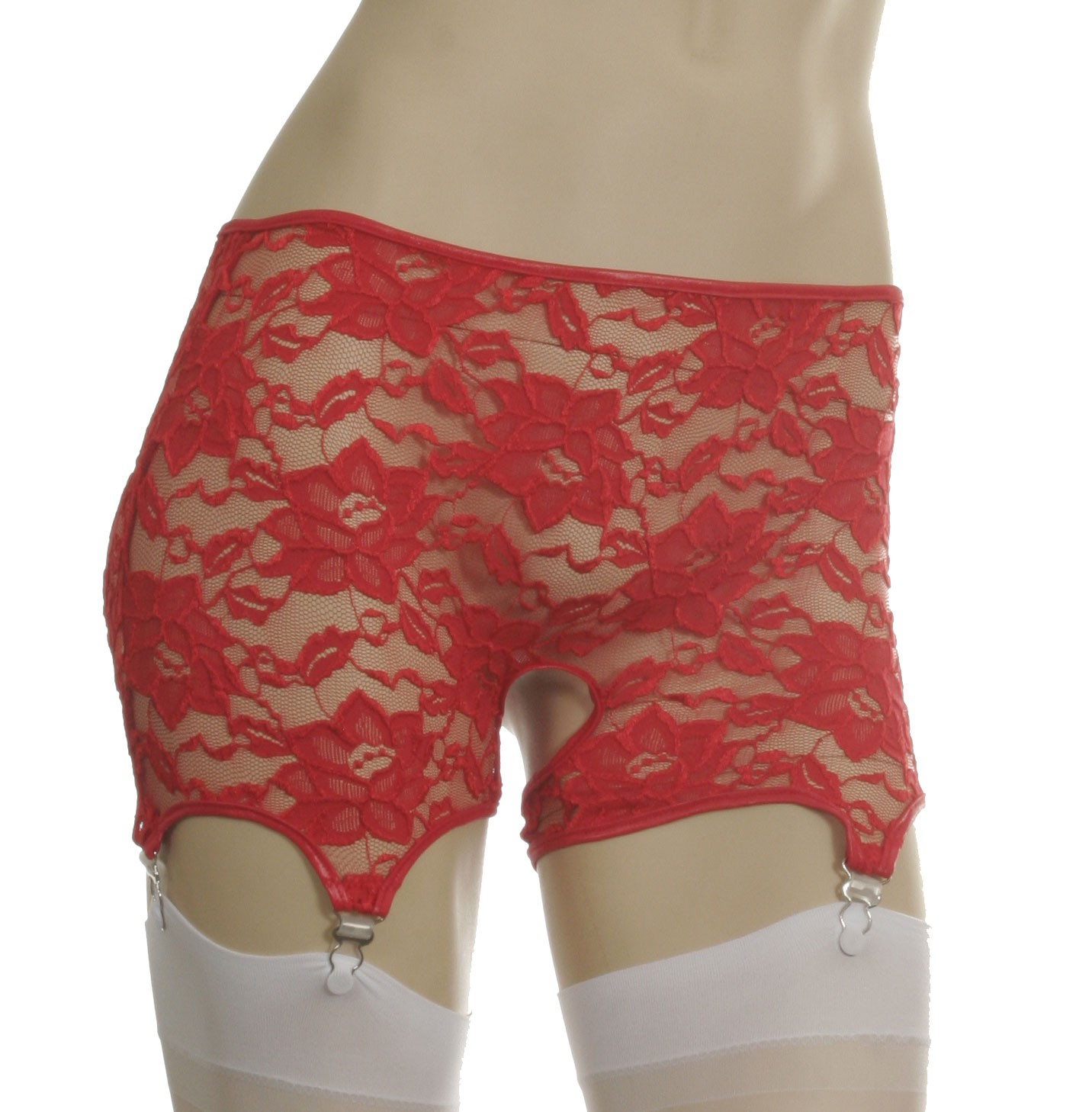 Stretch lace open crotch, open back shorts with garters GB6L