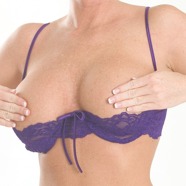 Narrow stretch lace half cup bra