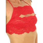 Narrow lace tiered halter top with string side thong panty