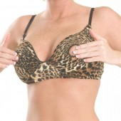 Animal print nippleless bra
