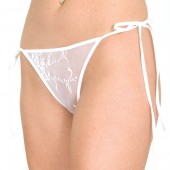 Wide lace tie side thong panty