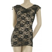 Stretch lace dress with low cut back-D15L