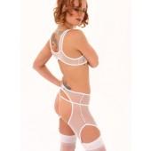 Fishnet crotchless garter panty