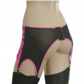 Power mesh garter belt with lace overlay in front GB7L