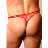 Fishnet pouch with attached thong and ring