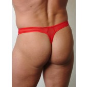 Mesh thong with cire panel and opening in front