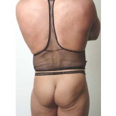Fishnet backless pouch