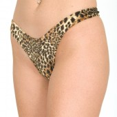 Animal print crotchless thong panty