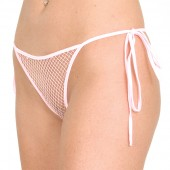 Fishnet tie side thong panty