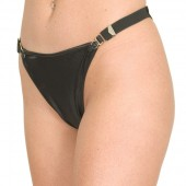 Wet look thong panty with garter sides