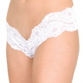 Narrow lace french cut crotchless panty