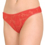 Stretch lace crotchless thong panty