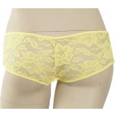 Crotchless stretch lace boy shorts-P5LC
